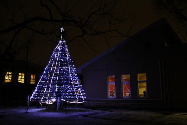 青い光のクリスマスツリー(バイパス側)
