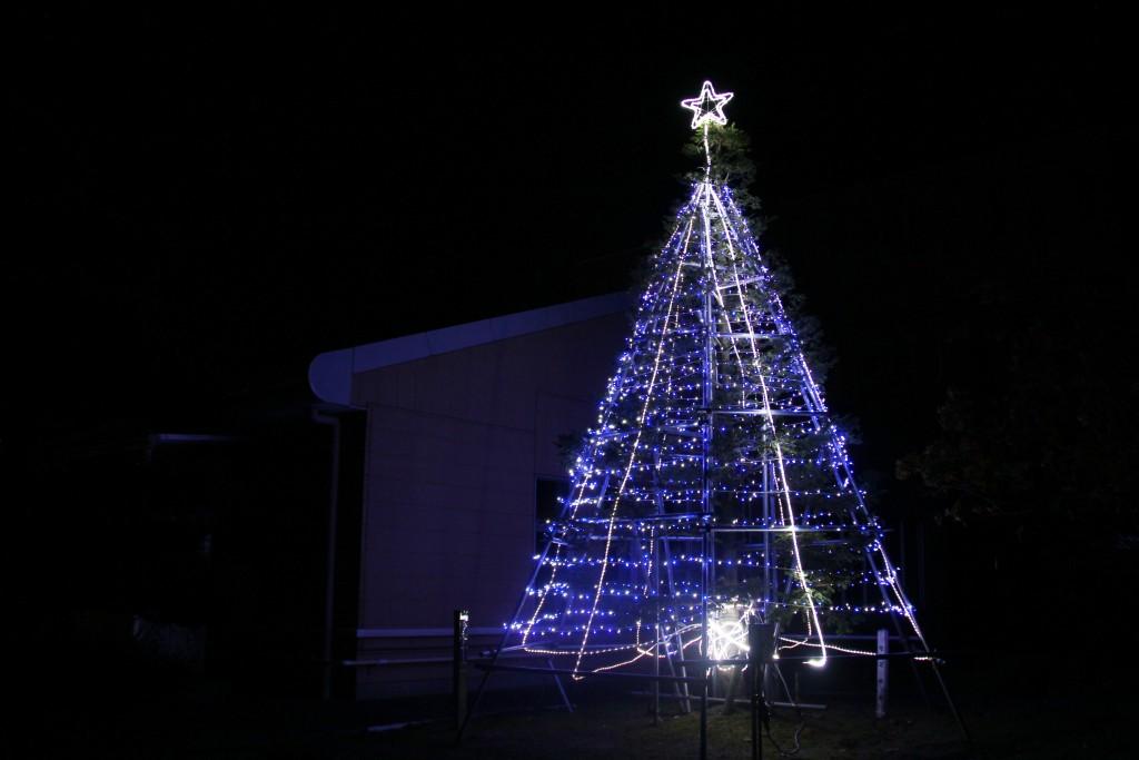 バイパス側のクリスマスツリー(ブルー)