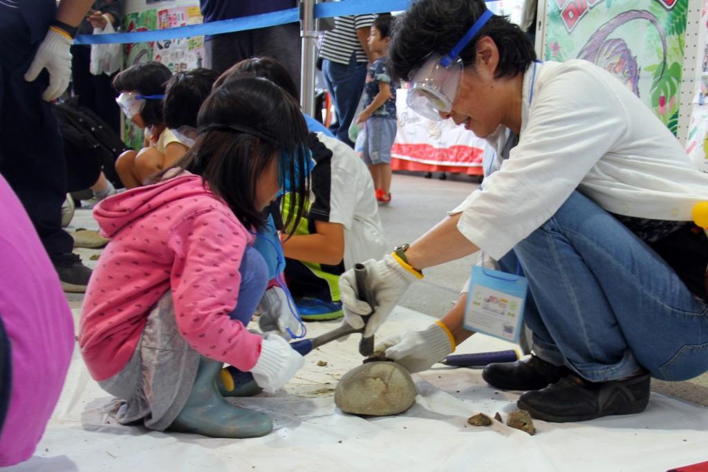 ゴーグルとハンマーを使った本格的な化石発掘体験