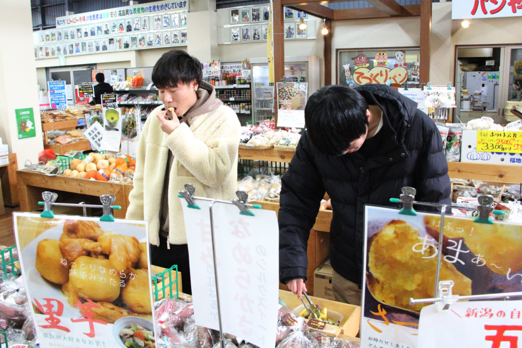 せいださま、地元農家の野菜を試食(12月6日)