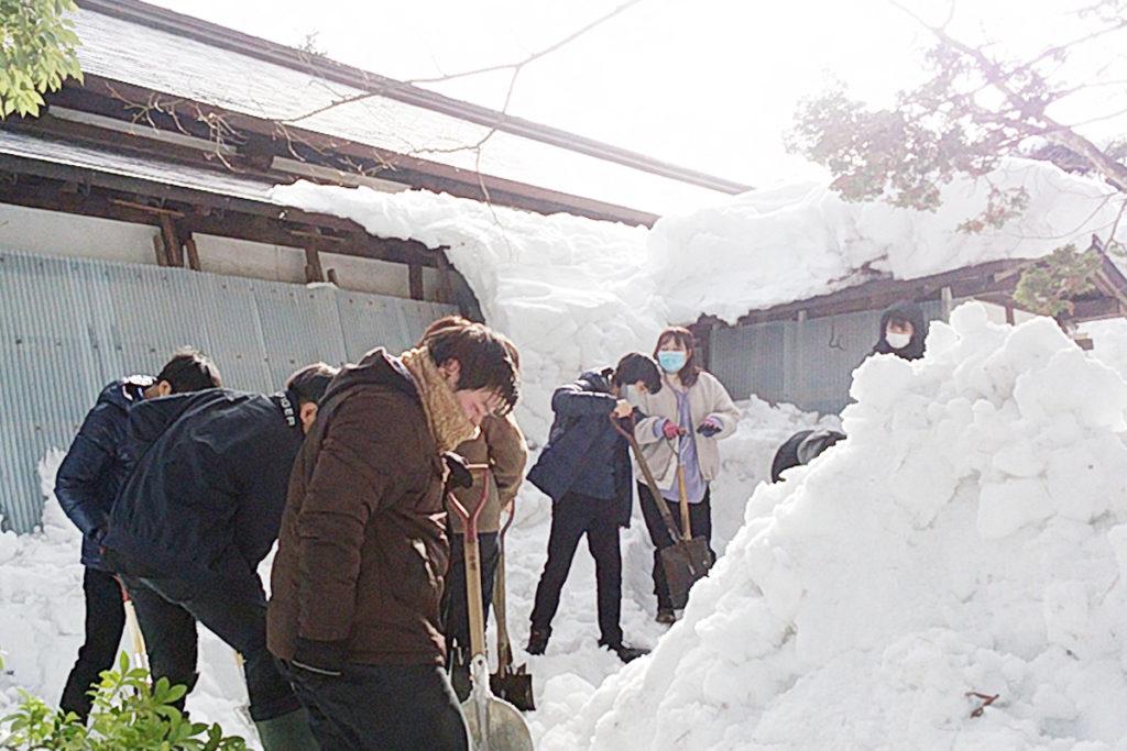 清水園の書院の壁を圧迫している部分を中心に除雪をすすめました