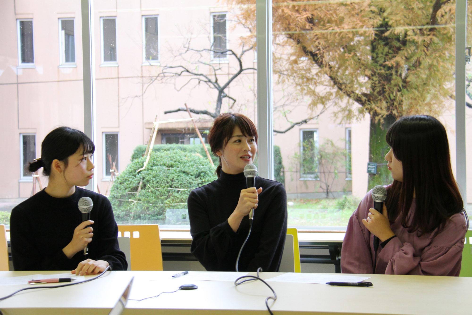 学生たちのラジオ番組に、卒業生の高井瑛子アナウンサーがゲストで来てくれました!
